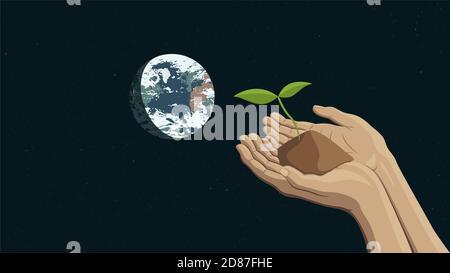 Ilustración detallada de vector plano de dos manos sosteniendo un brote que representa la sostenibilidad. La Tierra es visible en el fondo. Foto de stock