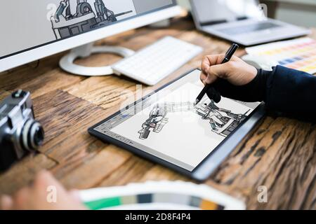 Gráfico Artist Designer dibujo de boceto en la tableta