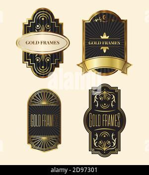 paquete de cuatro elegantes marcos de oro vector ilustración de diseño Foto de stock