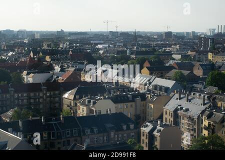 Vista aérea de la ciudad de Copenhague, Dinamarca por la mañana