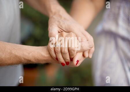 Tiro recortado de una pareja mayor sosteniendo las manos en un parque