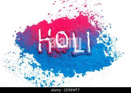Resumen colorido fondo de Happy Holi. Color polvo vibrante aislado en blanco. Textura de salpicaduras de color polvo. Piso holi pintura decoración