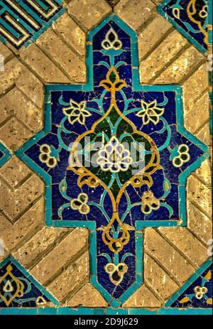 Detalle de las baldosas, Mezquita Azul, Masjed-e Kabud, Tabriz, Azerbaiyán Oriental, Irán