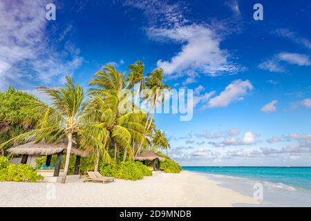 Fondo de playa tropical como paisaje de verano con columpio o hamaca y arena blanca y mar tranquilo para bandera de playa. Unas vacaciones perfectas en la playa