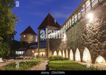 Jardín nocturno del rey danés. Medieval, la doncella y el kik en de kök torres de vigilancia en el patio de la ciudad vieja. Noches blancas en el verano Foto de stock