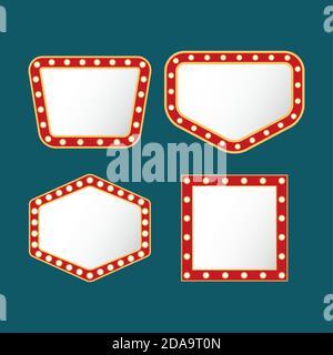 paquete de cuatro luces retro figuras marcos de fondo azul diseño de ilustración vectorial Foto de stock