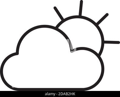 icono de sol y nube sobre fondo blanco, estilo de línea, ilustración vectorial