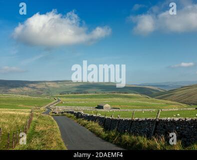 Paisaje del Reino Unido: Impresionantes vistas del carril del país a través de Malham Moor con antiguo granero de piedra, Yorkshire Dales National Park en un hermoso clima.