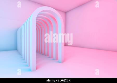 Pasillo de arcos en una habitación vacía con iluminación colorida, fondo digital abstracto, ilustración de representación 3d