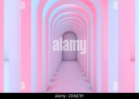 Pasillo vacío de arcos con iluminación colorida, fondo interior abstracto. Vista frontal, ilustración de representación 3d