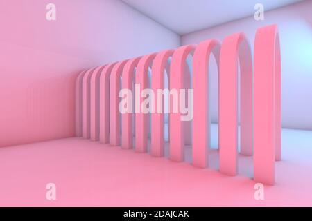 Pasillo de arcos en un interior vacío habitación con iluminación colorida, fondo abstracto cgi. ilustración de renderización 3d
