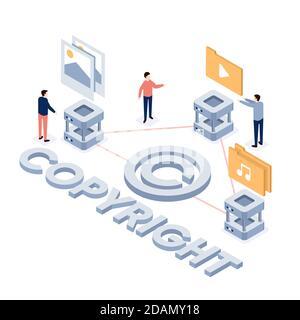Concepto de copyright isométrico con men Ilustración vectorial