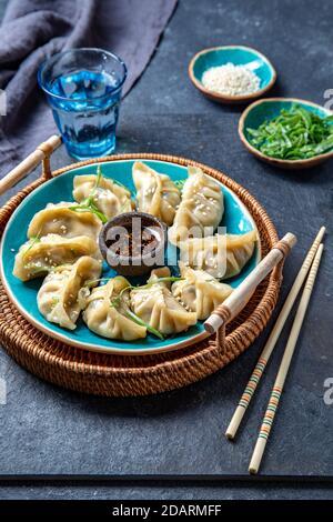 Potes asiáticos bolas de masa Gyoza con salsa de soja
