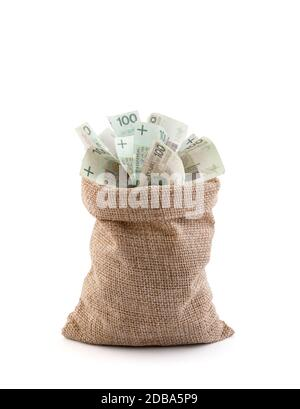 Dinero polaco en la bolsa aislado sobre fondo blanco