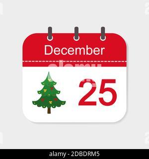 Calendario icono Diciembre con decoración de Navidad. Ilustración vectorial