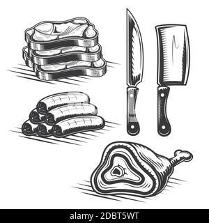 Conjunto de elementos de carnicero para crear sus propias insignias, logotipos, etiquetas, carteles, etc. aislados en blanco.