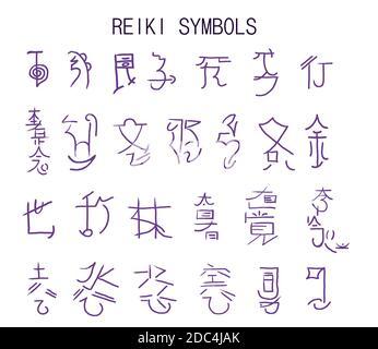 Un conjunto de símbolos de reiki aislados en blanco. Elementos dibujados a mano para el diseño. Tema místico, esotérico, oculto.