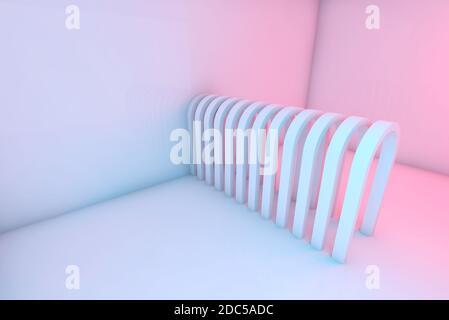 Los arcos en una fila están en una habitación vacía con iluminación colorida, fondo digital abstracto, ilustración de representación en 3d