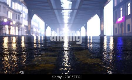 Asfalto por la noche. Charco y luz en la carretera nocturna 3D render