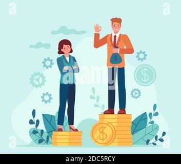 Diferencia salarial entre hombres y mujeres. Hombre de negocios y mujer de pie en pilas de dinero desiguales. Discriminación femenina. Desigualdad en el concepto de vector de pago de empleo