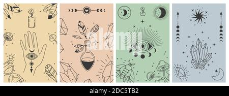 Pósteres místicos boho. Líneas esotéricas con símbolos de la astrología, cristales, poción, mal ojo y mano oculta. Tarot tarjeta vector conceptos