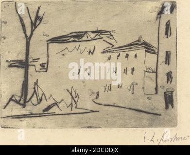 Ernst Ludwig Kirchner, (artista), alemán, 1880 - 1938, Street Corner in Dresden (Strassenecke Dresden), 1909, punto seco sobre papel para transferencia, placa: 9.8 x 13.6 cm (3 7/8 x 5 3/8 pulg.), hoja: 18 x 22 cm (7 1/16 x 8 11/16 pulg.