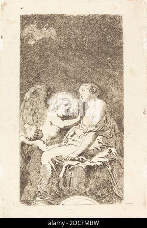 Jean Honoré Fragonard, (artista), francés, 1732 - 1806, Marco Cardisco, (artista después), italiano, c. 1486 - 1542, Santa Catalina de Alejandría (Santa Catalina de Alejandría), grabado