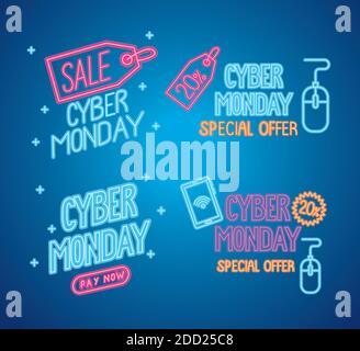 cyber lunes con letras de neón en fondo azul Foto de stock