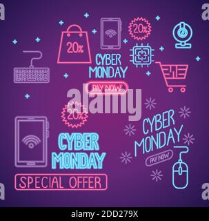 cyber lunes con letras de neón de fondo púrpura Foto de stock