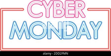 letras cyber monday en fuente de neón sobre fondo blanco Foto de stock