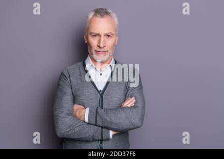 Retrato de su él bonito-mirando atractivo contenido franco superior gerente el economista del tiburón financiero, el banquero, dobló los brazos aislados sobre gris pastel