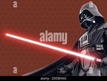 NO HAY PELÍCULA, NO HAY VÍDEO, NO hay televisión, NO HAY DOCUMENTAL - Darth Vader en negro capa y la vida de apoyo traje, en Star Wars. Foto por KRT/ABACAPRESS.COM