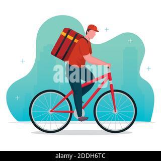 trabajador de reparto en bicicleta Foto de stock