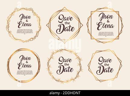 paquete de seis marcos de oro de invitación de boda Foto de stock