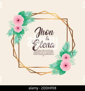 invitación de boda con letras de jhon y elena y flores rosadas en marco dorado Foto de stock