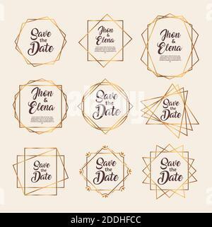 paquete de nueve marcos de oro de invitación de boda Foto de stock