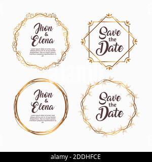paquete de cuatro marcos de oro de invitación de boda Foto de stock