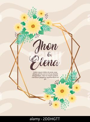 invitación de boda con letras jhon y elena y flores amarillas Foto de stock