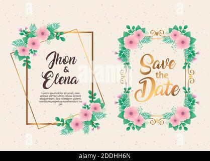 invitaciones de boda con flores rosadas y marcos dorados Foto de stock