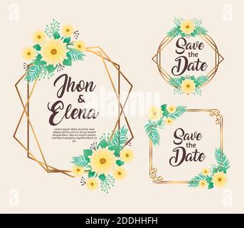 invitaciones de boda con marcos de flores amarillas y dorados Foto de stock