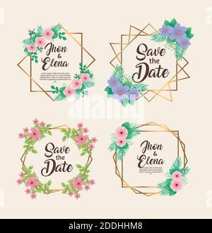 invitaciones de boda con colores florales y marcos dorados Foto de stock