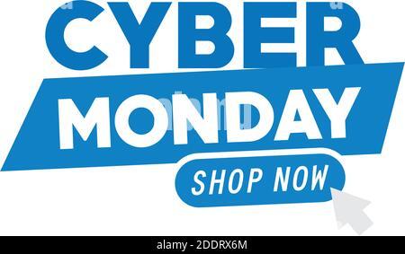 letras cyber monday con ratón de flecha en fondo blanco Foto de stock