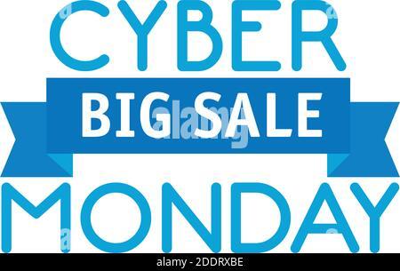 letras y cinta de cyber monday en fondo blanco Foto de stock