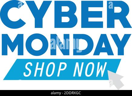 letras cyber monday y flecha de ratón en fondo blanco Foto de stock