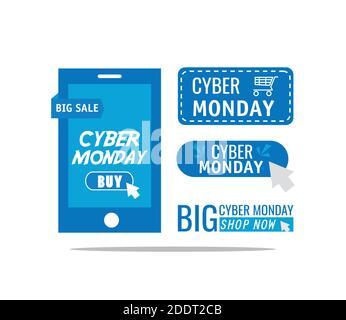 cyber lunes cartas en el smartphone Foto de stock