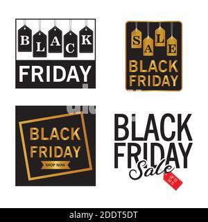 paquete de cuatro letras de venta de viernes negro Foto de stock