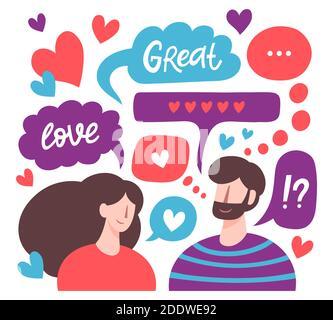 Pareja charlando. Hombres y mujeres citas románticas en línea, mensajes de amor, personajes lindos amantes de la charla. Ilustración vectorial de relaciones virtuales