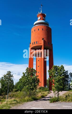 Antigua torre de agua ahora una plataforma de observación, Hanko, sur de Finlandia, Europa