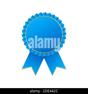 Premio azul roseta con cinta. Ilustración de stock vectorial.