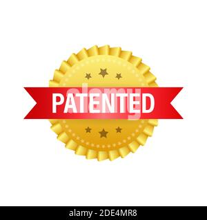 Etiqueta patentada de oro sobre cinta roja sobre fondo blanco. Ilustración de stock vectorial.
